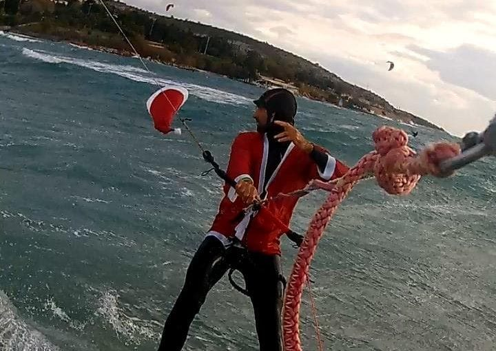 santa kitesurf session christmas new year athens