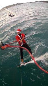 santa kitesurf session christmas new year athens